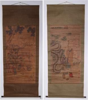 Two Chinese Scrolls After Zhou Chen & Qian Xuan