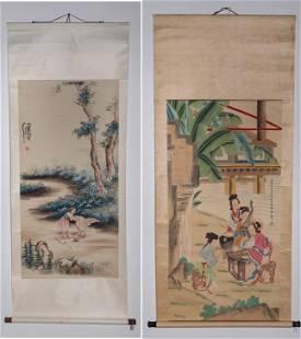 Two Chinese Scrolls After Yu Zhiding & Yang Jiansheng