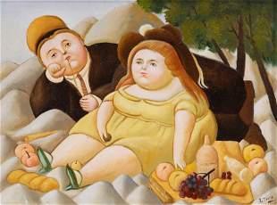 Fernando Botero (After) Boy and Girl at Picnic