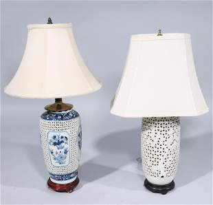 Two Chinese Porcelain Lamps