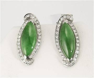 Pair Navette Jadeite & Diamond Ear Clips
