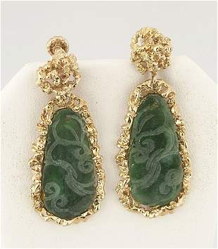 Pair 14 Kt Yellow Gold Earrings