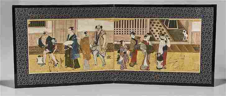 17th-18th C. Japanese Two-Panel Screen