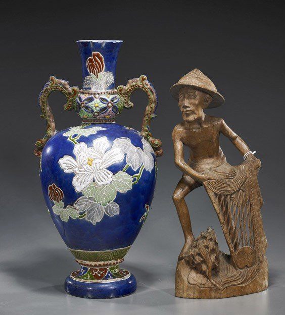 1: Satsuma-Type Vase & Wood Fisherman