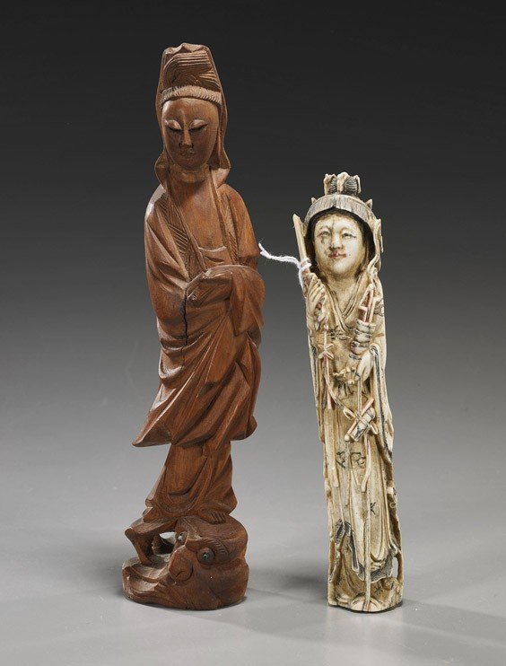 12: Two Carved Guanyin Figures