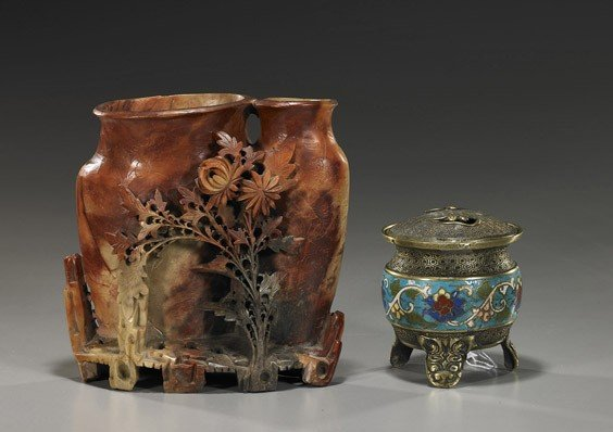 16: Soapstone Double Vase & Bronze Censer