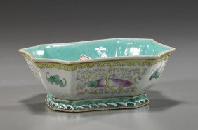 3 Chinese Porcelains: Dish & Rooster Tureens