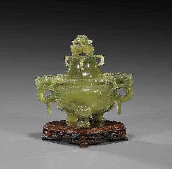 49: Chinese Carved Green Bowenite Censer