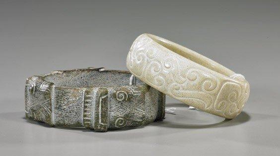 53: Two Carved Jade/Hardstone Bracelets