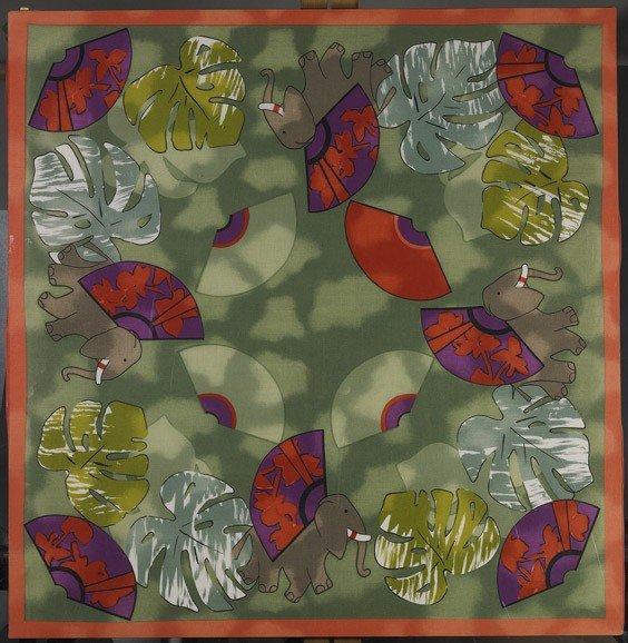 61: Framed Batik Silk Scarf & 3 Flatworks