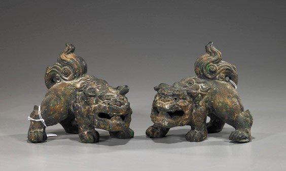 64: Pair Japanese Iron Models of Shi-shi