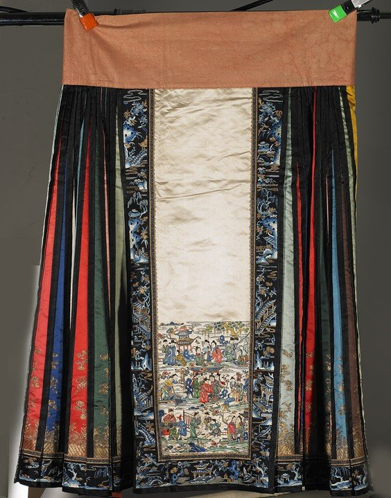 248: Chinese Satin Stitch Embroidered Silk Skirt