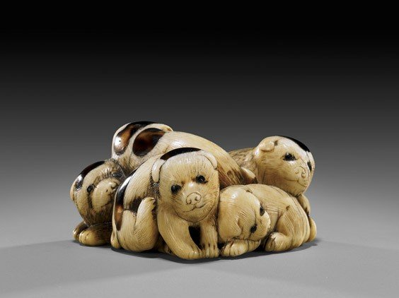 9: ANTIQUE IVORY NETSUKE: Five Puppies