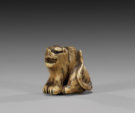 11: ANTIQUE IVORY NETSUKE: Snarling Tiger