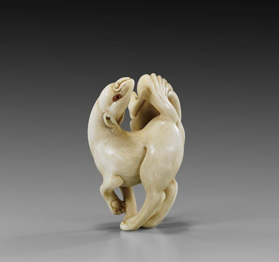 12: CONTEMPORARY IVORY NETSUKE: Fox