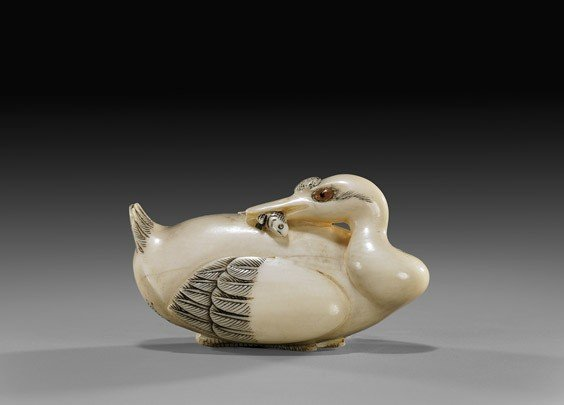 13: CONTEMPORARY IVORY NETSUKE: Duck