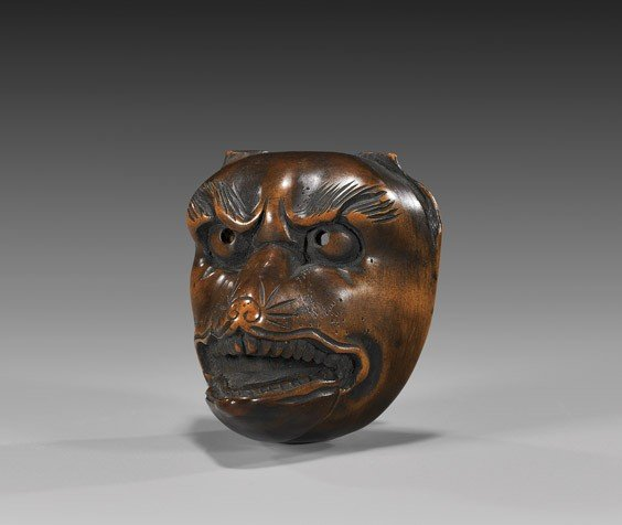 19: ANTIQUE WOOD NETSUKE: Fox Mask