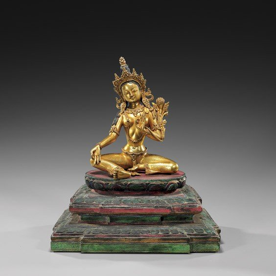 175: NEPALESE GILT BRONZE SEATED DEITY