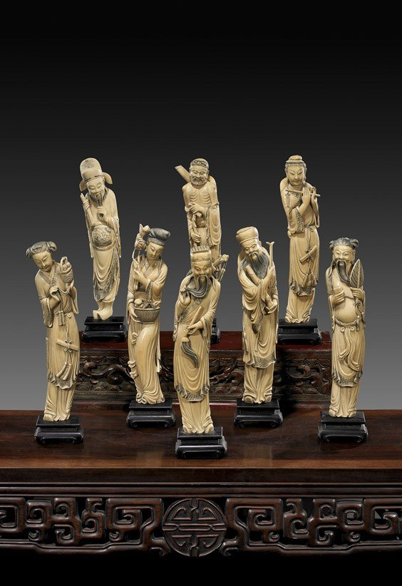 192: CARVED IVORY SET OF EIGHT IMMORTALS