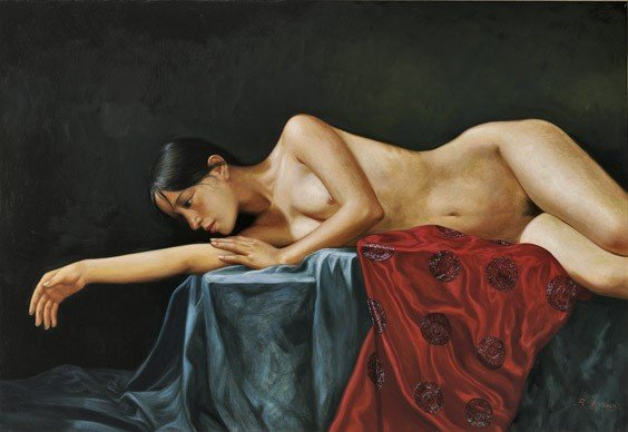 390: CHINESE OIL PAINTING: Nude Beauty