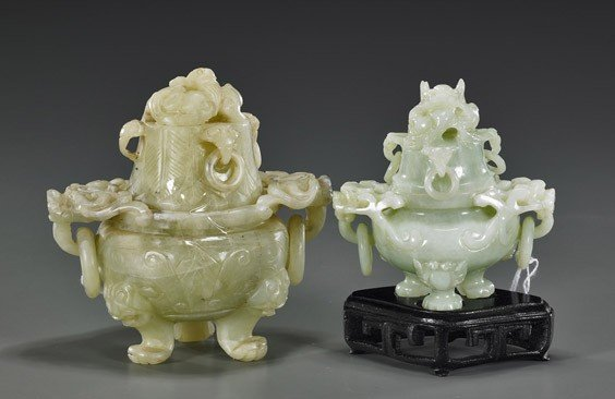 6: Two Chinese Carved Bowenite Censers