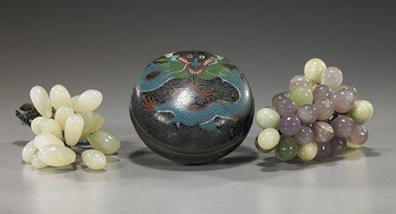 11: Antique Cloisonné Box & Hardstone Grapes