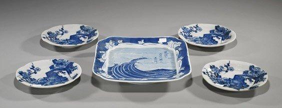 12: Five Japanese Blue & White Porcelain Dishes