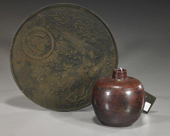 18: Two Antiques: Bronze Mirror & Glazed Jar