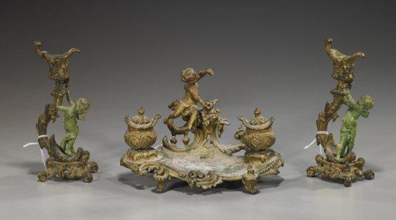 21: Continental Bronze Candleholders & Desk Piece
