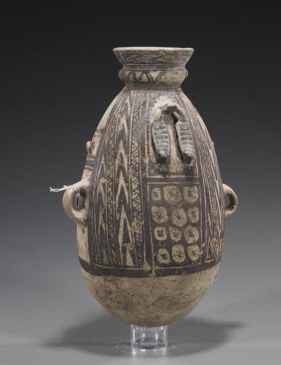 102: Tall Pre-Columbian Painted Pottery Vessel
