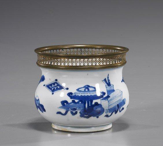 210: Small Kangxi Blue & White Porcelain Vessel