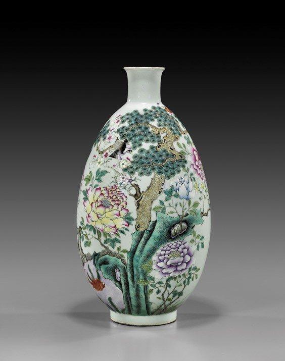 284: Chinese Famille Rose Ovoid Porcelain Vase