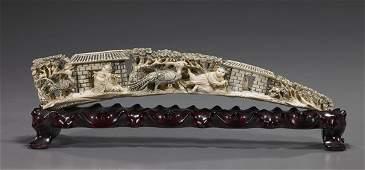 305: Chinese Carved Ivory Tusk Bridge