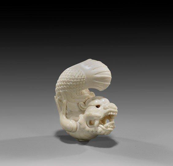 7: CONTEMPORARY IVORY NETSUKE: Dragon-Fish