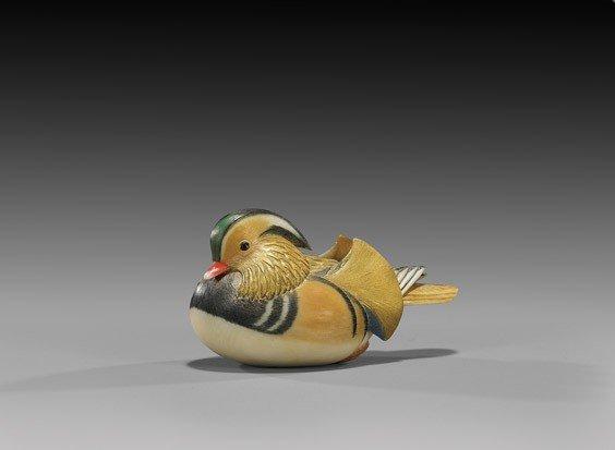 10: CONTEMPORARY IVORY NETSUKE: Duck