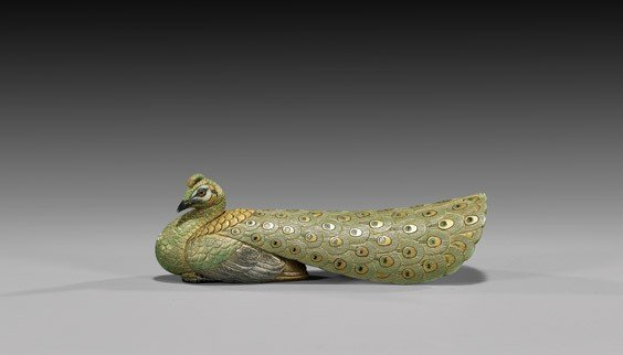 11: CONTEMPORARY IVORY NETSUKE: Peacock