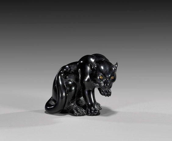 12: CONTEMPORARY IVORY NETSUKE: Panther