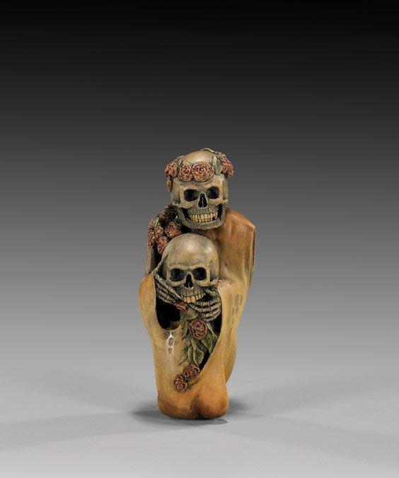 61: CONTEMPORARY WOOD NETSUKE: Skeleton