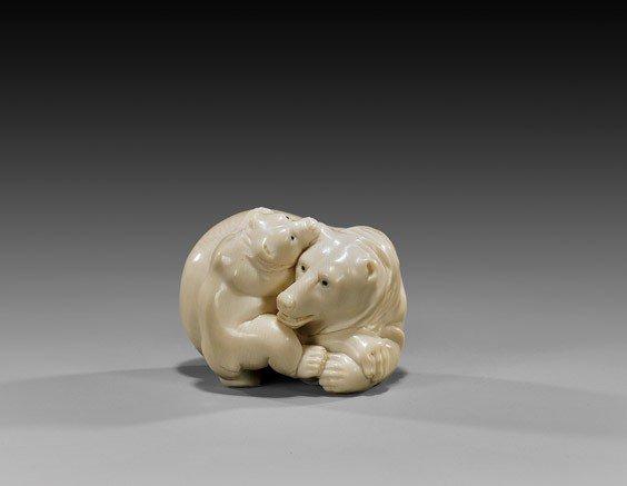 65: CONTEMPORARY IVORY NETSUKE: Bears