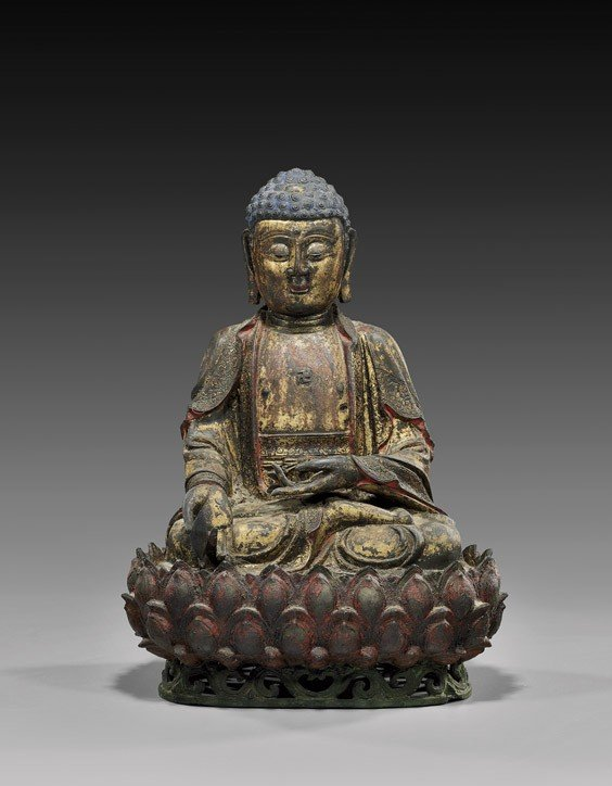 280: MING DYNASTY LACQUERED BRONZE BUDDHA