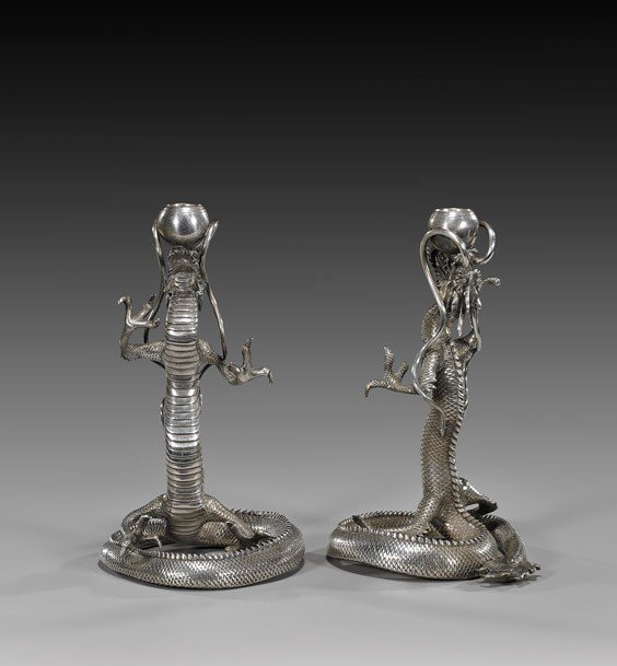 324: PAIR ANTIQUE JAPANESE SILVER CANDLEHOLDERS