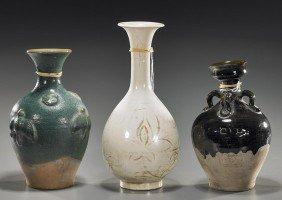 Three Chinese Early-Style Glazed Vases