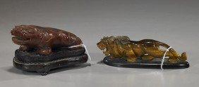 Hardstone Qilin And Tiger Eye Lion