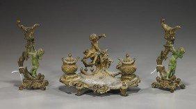 6: Continental Bronze Candleholders & Desk Piece