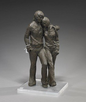 Signed Bronze Sculpture Of A Walking Couple