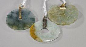 8: Three Chinese Carved Jadeite Pendants