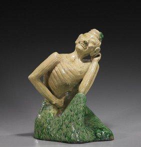 14: Chinese Glazed Ceramic Buddhist Ascetic