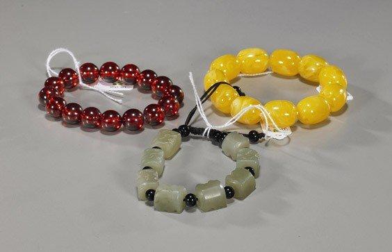 21: Three Various Chinese Bead Bracelets