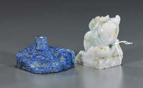 24: Two Chinese Carvings: Jadeite & Lapis