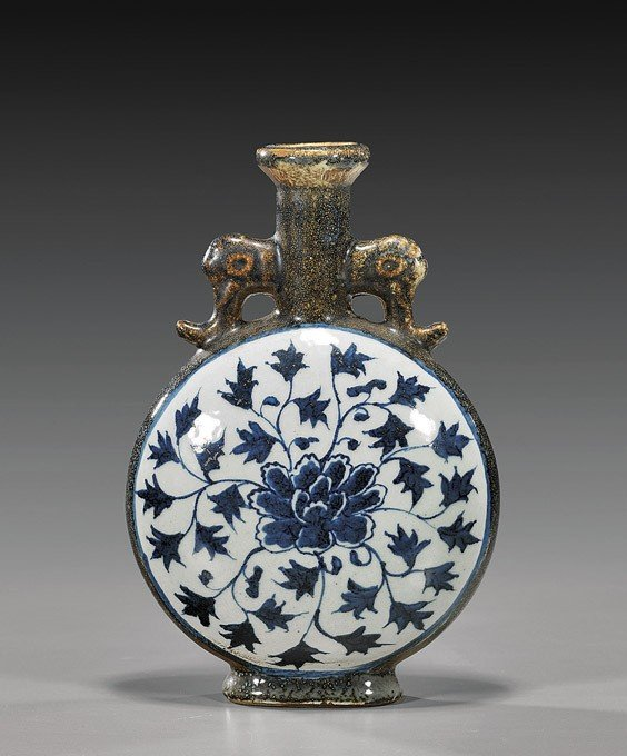 77: Chinese Blue & White Porcelain Moon-Flask